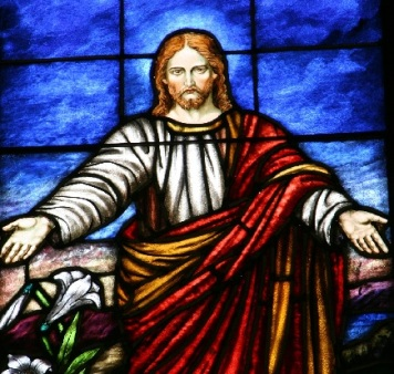 STAINED GLASS OF JESUS WITH OUTSTRETCHED ARMS 40 PERCENT