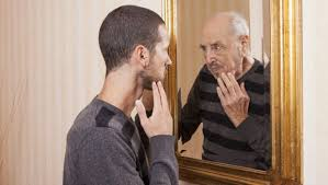 YOUNGER ME SEES OLDER ME IN MIRROR
