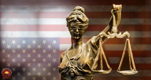 LADY JUSTICE AND FLAG