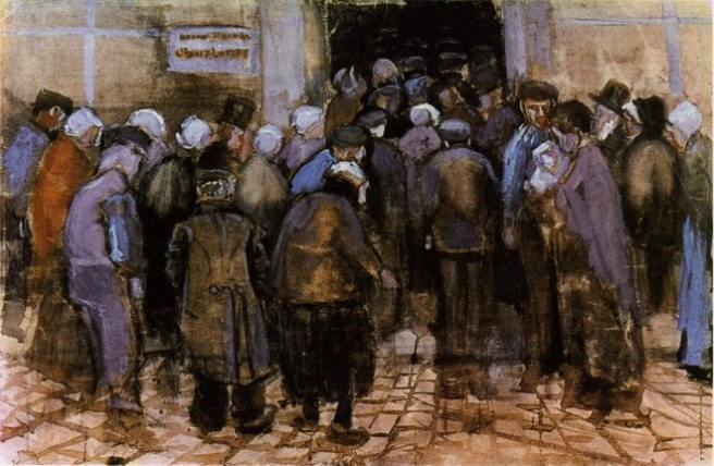 """""""The State Lottery Office (The Poor and Money)"""" watercolor painting by Vincent Van Gogh."""