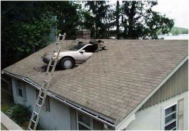 CAR THROUGH ROOF
