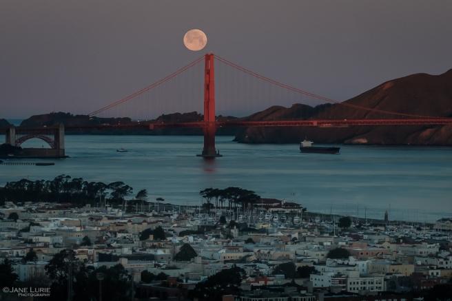 Golden Gate Bridge, San Francisco, Moon, Photography, Landscape, Night