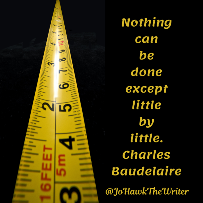 Nothing can be done except little by little. Charles Baudelaire