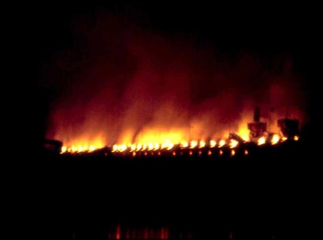 Coke ovens burning at night